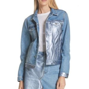 GRLFRND Bianca Metallic Leather trim Denim Jacket